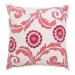 Rizzy Home Flourish Hand Medallions 18-inch x 18-inch Cotton Decorative Filled Throw Pillow