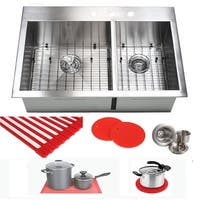 Ariel 16 Gauge Stainless Steel 33-inch 60/40 Double Bowl Kitchen Sink Combo