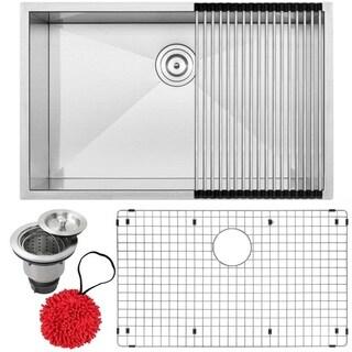 Ticor S3690-KIT 16 Gauge Stainless Steel Single Bowl Undermount Square Kitchen Sink Zero Radius Corners (30-inch)