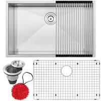 "30"" Ticor S3690 Pacific Series 16-Gauge Stainless Steel Undermount Single Basin Zero Radius Kitchen Sink with Accessories"
