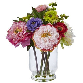 Nearly Natural 10.5-inch Peonies and Mums in Vase Arrangement
