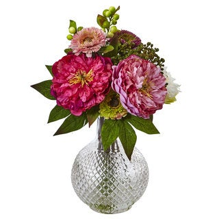 Nearly Natural Silk Peony and Mum Flowers in Glass Vase