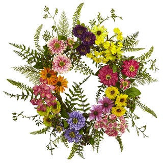 Nearly Natural Mixed Flower 22-inch Diameter Wreath