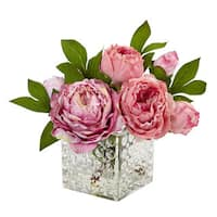 Nearly Natural Peony in Glass Vase