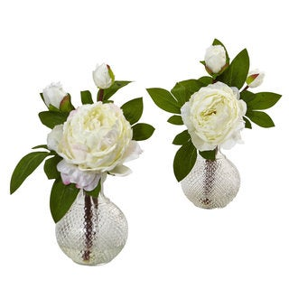 Nearly Natural 11-inch Faux Peony With Vase (Set of 2)