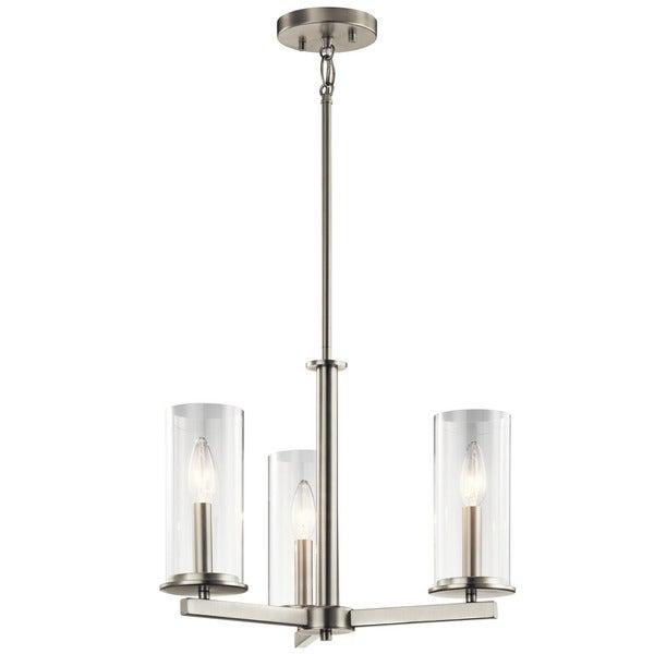 crosby collection large pendant light. Kichler Lighting Crosby Collection 3-light Brushed Nickel Chandelier/Semi Flush Mount Large Pendant Light