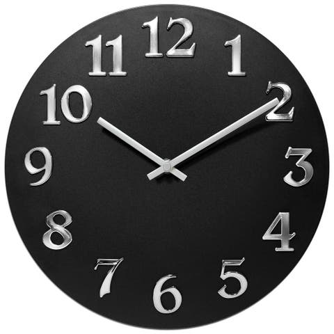 Infinity Instruments Vogue Black Aluminum 12-inch Round Wall Clock