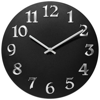 Infinity Instruments Vogue Black Aluminum 12-inch Round Wall Clock