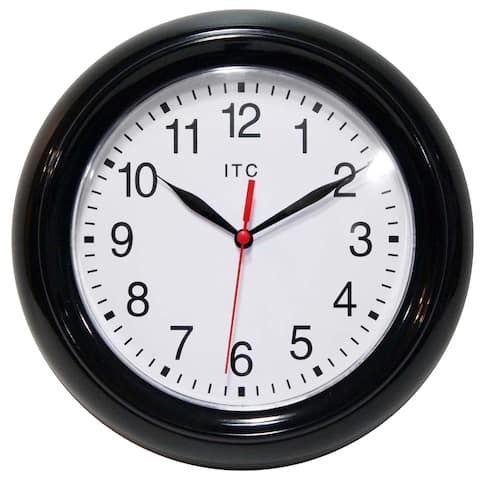 Focus Simple Business Black 9 inch Wall Clock by Infinity Instruments
