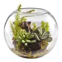 Nearly Natural Mix Succulent Garden with Glass Vase