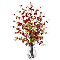 Nearly Natural Red Cherry Blossom in Glass Vase