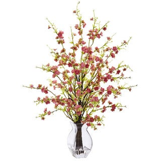 Nearly Natural Pink Faux Cherry Blossom in Glass Vase