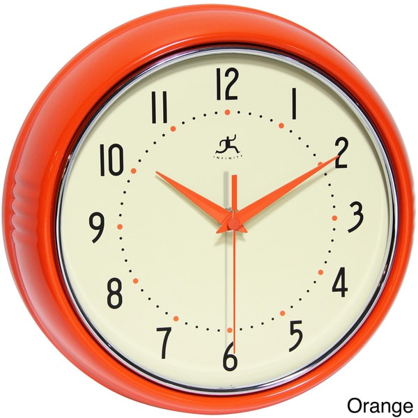 Retro Diner Style Classic Modern Clock Red or Black
