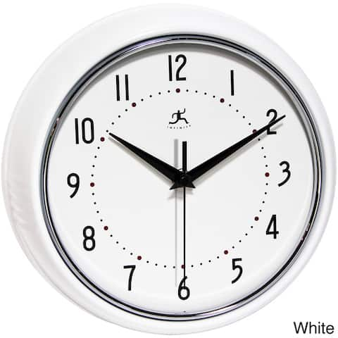 Round Retro 9.5 inch Kitchen Vintage 50s Wall Clock by Infinity Instruments