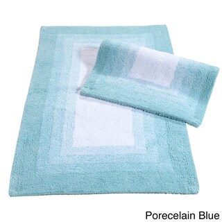 Whitney Ombre Border Reversible Bath Rug Set - includes BONUS step out mat