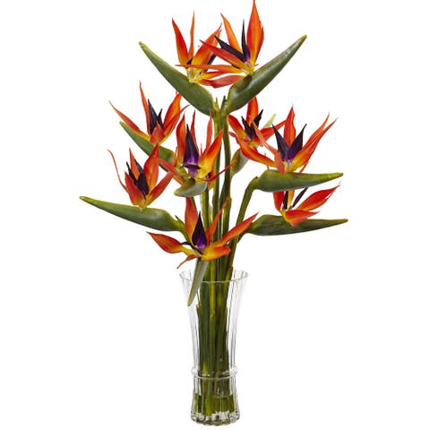 Nearly Naturals Multicolored Large Birds of Paradise in Vase