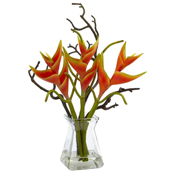 Nearly Natural Faux Heliconia in Glass Vase