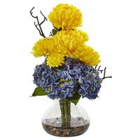 Nearly Natural Blue Hydrangeas and Yellow Mums in Vase