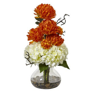 Nearly Natural White Hydrangea and Orange Mum in Clear Glass Vase