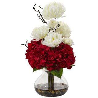 Hydrangea and Mum in Vase (Red/White)