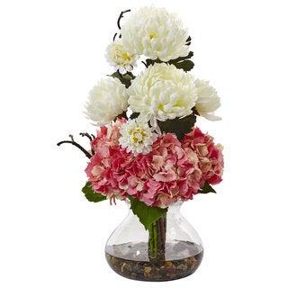 Nearly Natural Pink and White 19-inch Hydrangeas and Mums in Vase