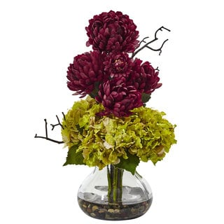 Nearly Natural Green Hydrangeas and Burgundy Mums in Vase