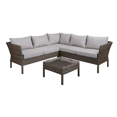 DG Casa Solana Steel Rattan Sectional Sofa and Table Set