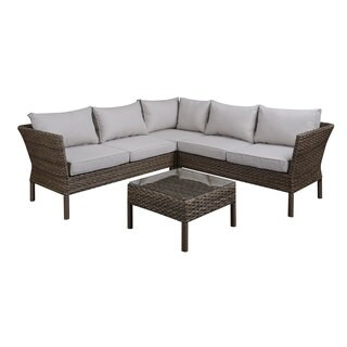 DG Casa Solana Steel Rattan Sectional Sofa and Table Set