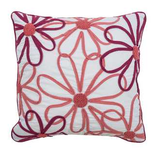 """Rizzy Home floral 18"""" x 18""""Cotton decorative filled Throw Pillow"""