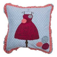 "Rizzy Home Blue Children's Dress 18""x18"" Cotton Filled Throw Pillow"