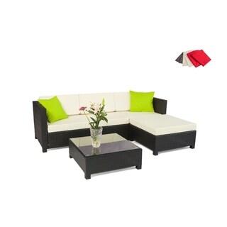 MCombo 5-piece Luxury Black Wicker Sectional Indoor Outdoor Sofa Furniture 1005