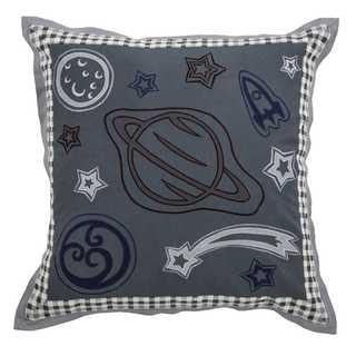 Rizzy Home Grey Cotton 18 x 18 Outer Space Throw Pillow
