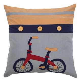 Rizzy Home Bike Yellow Cotton 18-inch x 18-inch Decorative Filled Throw Pillow