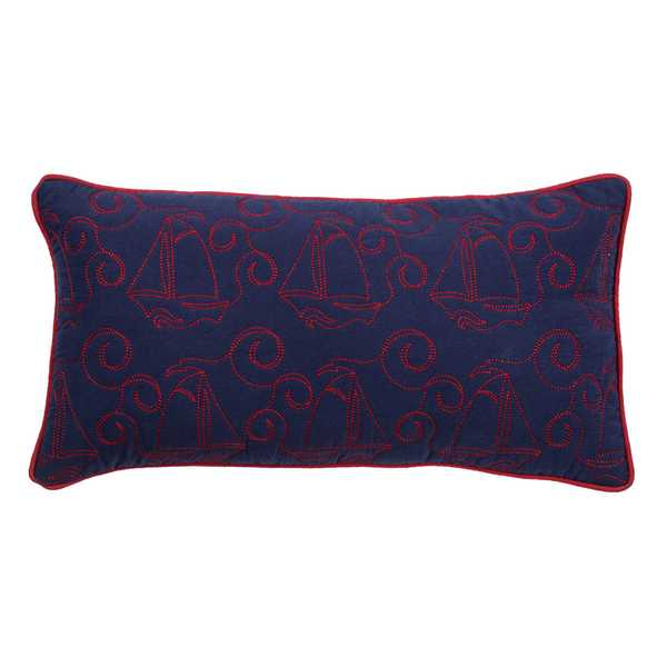Rizzy Home Boats Purple/Red Cotton 11 x 21 Throw Pillow