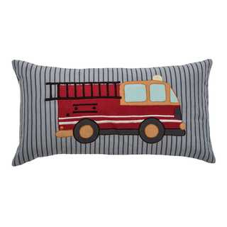 Rizzy Home Fire Truck Cotton 11-inch x 21-inch Decorative Filled Throw Pillow