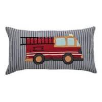 "Rizzy Home Fire Truck Cotton 11"" x 21"" Throw Pillow"