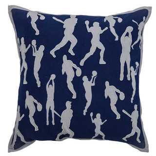 Rizzy Home Blue Cotton 18 x 18 Sports Decorative Throw Pillow