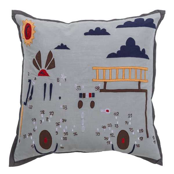 "Rizzy Home Grey Fire Truck Cotton 18"" x 18"" Filled Throw Pillow"