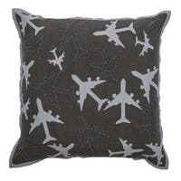 """Rizzy Home Planes 18"""" x 18"""" Cotton Filled Throw Pillow"""