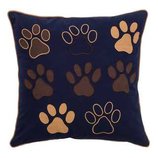 Rizzy Home Blue Paws Cotton 18-inch x 18-inch Decorative Filled Throw Pillow
