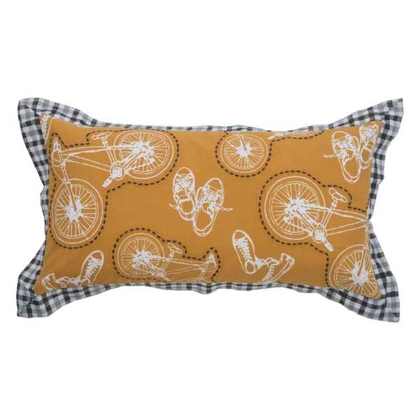 Rizzy Home Bikes Yellow Cotton 11-inch x 21-inch Decorative Filled Throw Pillow
