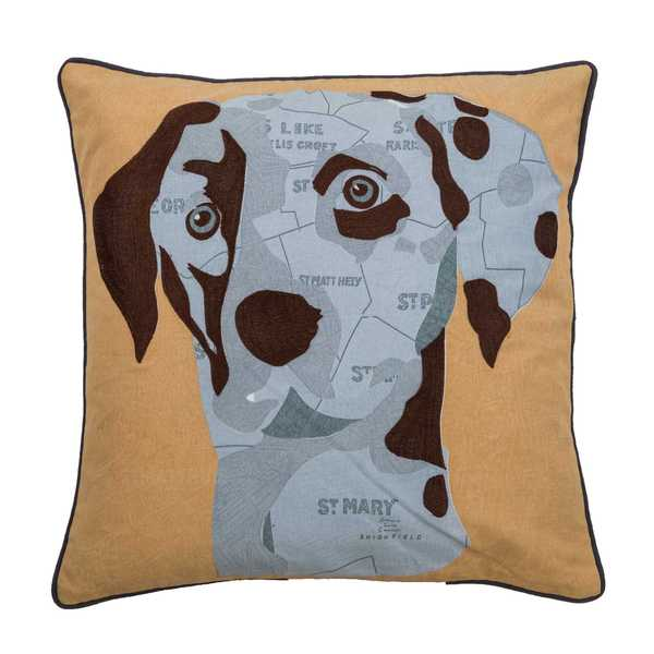 Rizzy Home Dog Yellow Cotton 18-inch x 18-inch Decorative Filled Throw Pillow