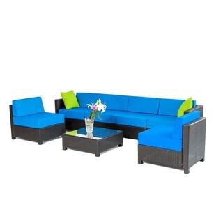 MCombo 7-piece Luxury Black Wicker Patio Sectional Indoor Outdoor Sofa Furniture Set-Blue