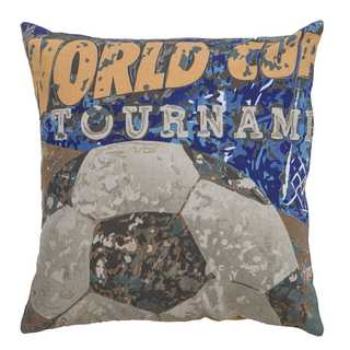 Rizzy Home World Cup Soccer Cotton 18-inch x 18-inch Decorative Throw Pillow