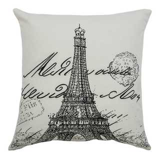Rizzy Home Eiffel Tower Script Cotton Square Decorative filled Throw Pillow