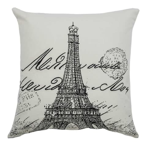 Rizzy Home Eiffel Tower Script 20x20 Cotton Square filled Throw Pillow
