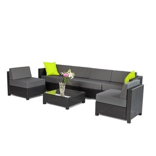 MCombo 7-piece Luxury Black Wicker Patio Sectional Indoor Outdoor Sofa Furniture Set-Grey