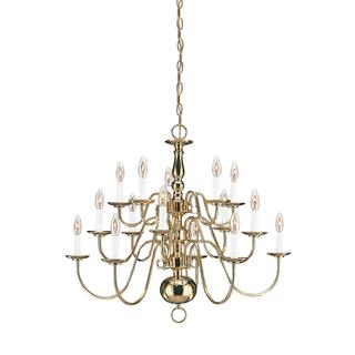 Sea Gull Traditional 15 Light Polished Brass Chandelier