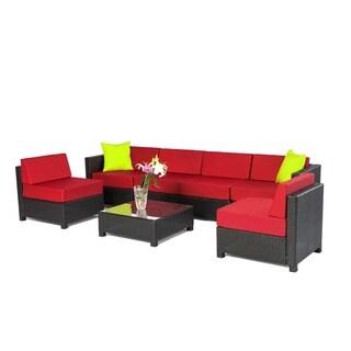 7 PC Deluxe Outdoor Garden Patio Rattan Wicker Furniture Sectiona