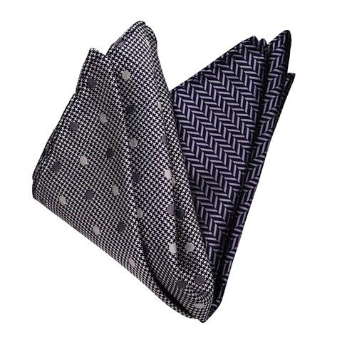 Dmitry Men's Grey and Navy Italian Silk Pocket Squares (Pack of 2)